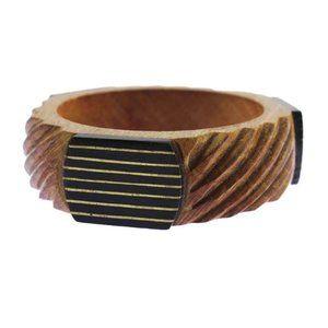 Chunky Wood Bangle Bracelet with Brass Inlay